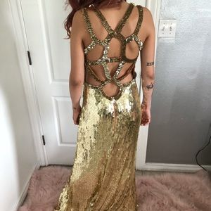 Gold sequins full length gown